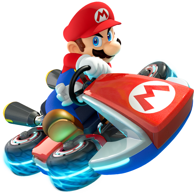 mario driving a gravity-defying kart